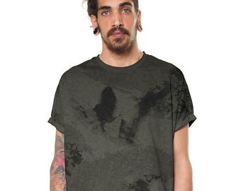 13528bf8 Men's Camouflage Baggy T-Shirt Army Green Unique Print Graphic Going Out  Top - Exclusive in House Design - Street Style One of a kind Items