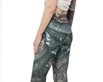 Colorful Tribal Stirrup Leggings as Pants - Quality Printed Urban Street Style Leggings - Tattoo Psychedelic Aztec Yoga Alternative Clothing