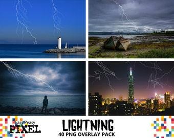 LIGHTNING PHOTOSHOP OVERLAYS, Photoshop Overlays, Stormy Sky Effect, Thunder Storm, Electricity Thunderbolt, Lightning Strike, Digital Art.