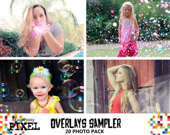 SAMPLER OVERLAYS, PHOTOSHOP Overlays, Photoshop Overlay, Bubbles Overlays, Smoke Overlays, Confetti Overlays, Glitter Overlays, Sampler