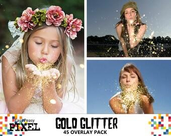 GOLD GLITTER OVERLAYS, Blowing Glitter Overlays, Glitter Overlay, Christmas, Photo Overlays, Wedding Overlays, Conffeti Overlays