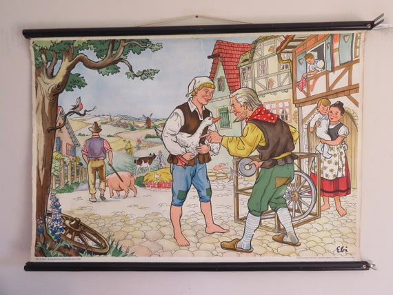 Vintage HANS IN LUCK school chart wall chart fairy tale folktale Bothers  Grimm