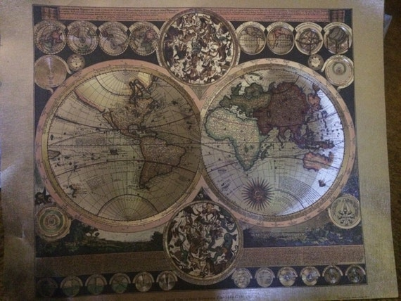World Map By Peter Schenk The Elder.Items Similar To Antique World Map By Peter Schenk The Elder 1645
