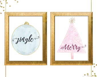 Holiday Prints/ Christmas Art/ Digital Download/ Ornament/ Christmas Tree