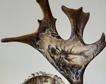 Real Antler Carving with Clock
