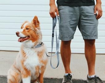 Checkerboard Design Dog Collar Leash Set, Pet Leashes, Soft Dog Lead, Medium to Large Breed Dog Collar