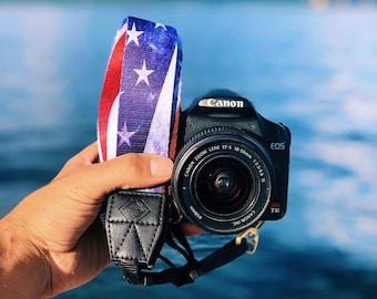 Camera Strap - American Flag design strap for DSLR or SLR camera, DSLR Camera Strap, Camera accessories. Canon / Nikon camera strap.