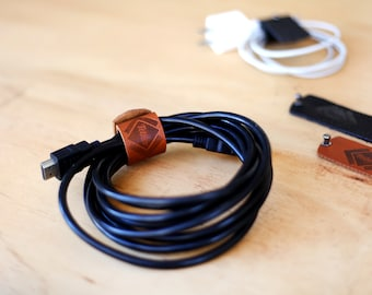 Set of 2 Genuine Leather Cable Wraps / Cord Holders / Cable Ties for iPhone, Mac book, iPad, laptop, Guitar and Camera cords