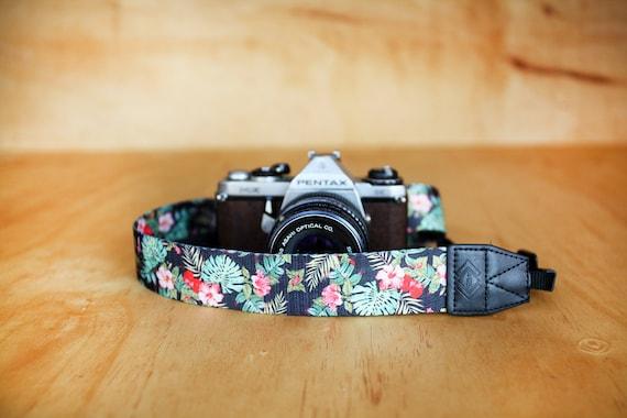 Red Hawaiian Print Camera Strap