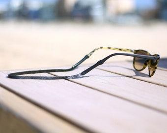 Black Slim Leather Sunglass Strap / Sunglass retainer / Strap for Sunglasses