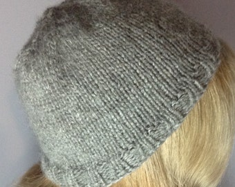 Soft Grey Knitted Hat