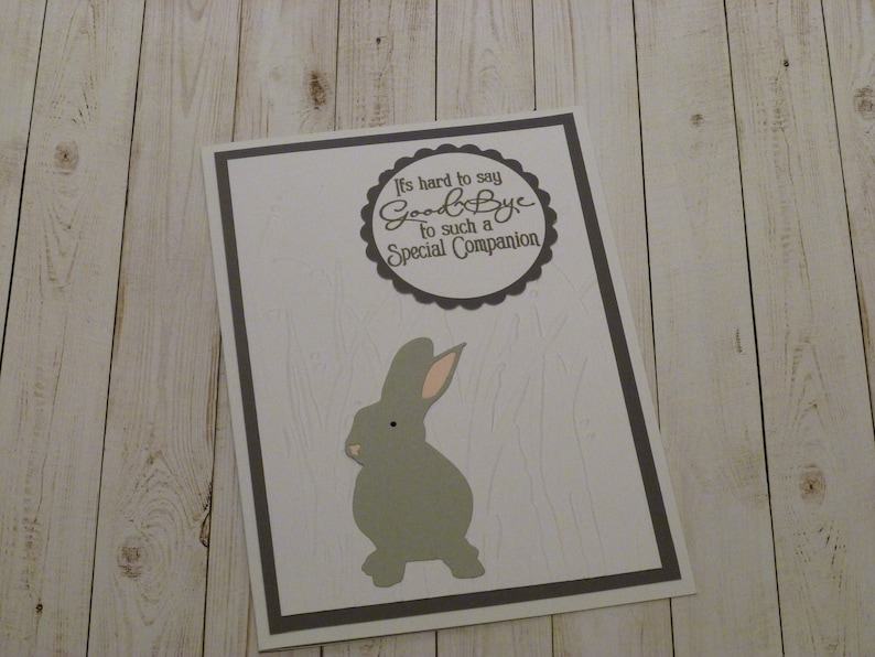 Loss of Rabbit Bunny Memorial Gift Rabbit Memorial Card Handmade Bunny Sympathy Card Gray Bunny Memorial Card Gift for Loss of Bunny