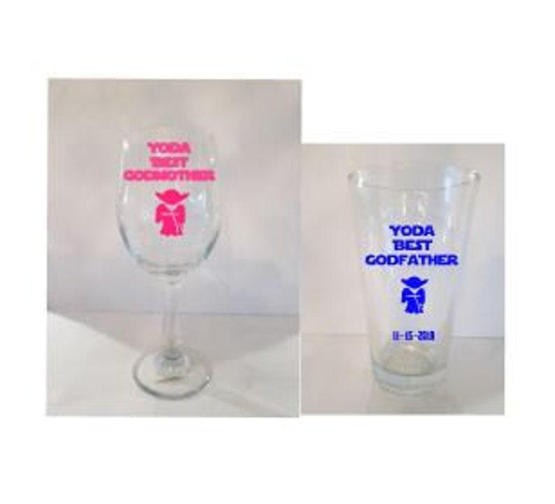 f5c336e5f48 Yoda Best Godfather and Godmother Set of 2 Glasses Godparent | Etsy