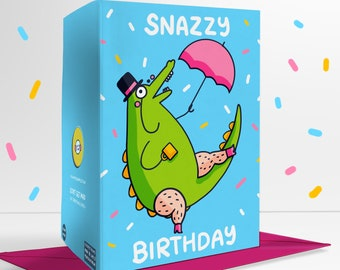 Snazzy Birthday Blank Greetings Card Positivity Fancy Crocodile