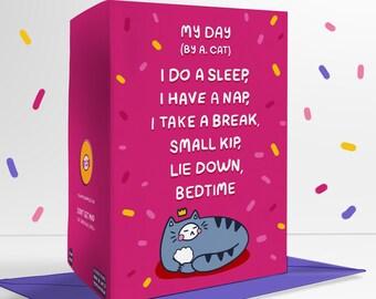 Cat Poem Pink Blank Greetings Card Funny