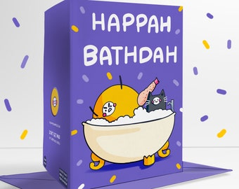 Happah Bathdah Birthday Blank Greetings Card Funny
