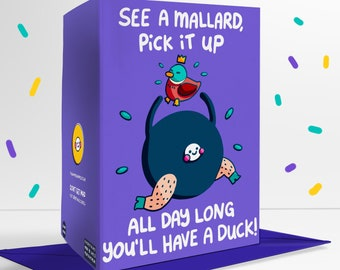 See A Mallard Pick It Up All Day Long You'll Have A Duck Blank Greetings Card Poem Pun
