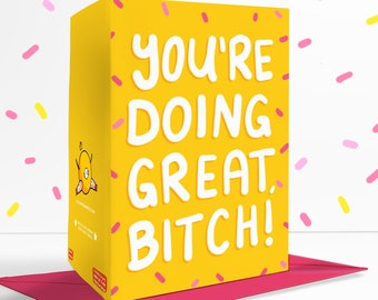 You're Doing Great  Blank Greetings Card Cute Self Care