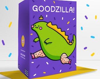 Goodzilla Blank Greetings Card Positivity Chunky Godzilla Lizard
