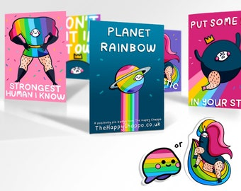 Pride bundle! Save lots! on 1 Pin badge 4 Postcards and a free Sticker
