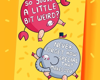 So You're A Little Bit Weirs? Crab Elephant Colour Rainbow Motivational Postcard