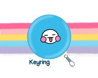 Blue Mood Face 58mm Clip Keyring Original Illustration by The Happy Chappo - Positivity Gift