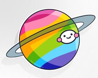 Planet Rainbow Large Vinyl Sticker
