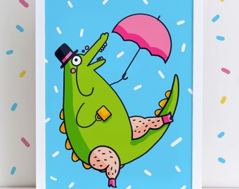 Snazzy Crocodile High Quality A4 0r A3 Art Print