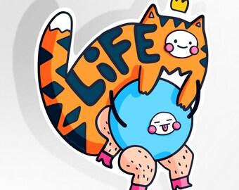 Life Tiger Piggy Back Large Vinyl Sticker