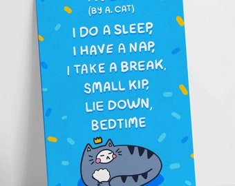 My Day By A. Cat! Colour Funny Poem Motivational Postcard Blue