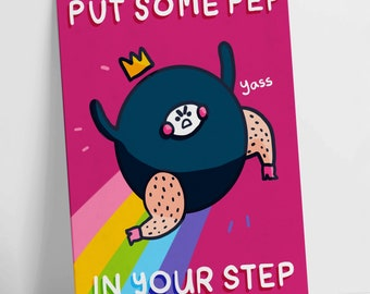 Put some pep in your step Rainbow Motivational Postcard