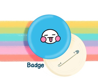 Blue Mood Face 58mm Badge Original Illustration by The Happy Chappo - Positivity Gift