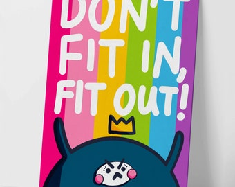 Don't Fit In Fit Out! Colour Rainbow Motivational Postcard