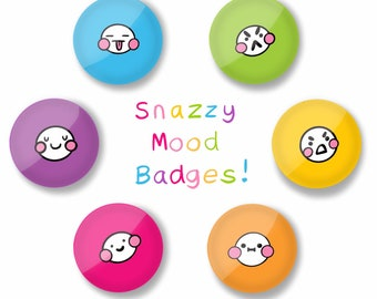 25mm 6 rainbow mood badge pack