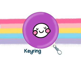Purple Mood Face 58mm Clip Keyring Original Illustration by The Happy Chappo - Positivity Gift