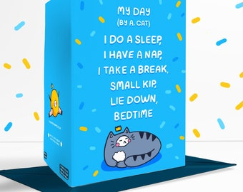 Cat Poem Blue Blank Greetings Card Funny