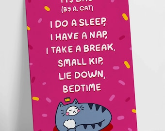 My Day By A. Cat! Colour Funny Poem Motivational Postcard Pink