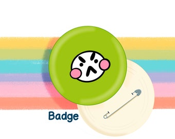 Green Mood Face 58mm Badge Original Illustration by The Happy Chappo - Positivity Gift