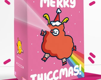 Merry Thiccmas Sassy Christmas Greetings Card Festive Father Christmas Rudolph Reindeer Thicc