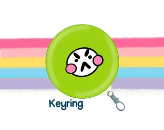 Green Grumpy Mood Face 58mm Clip Keyring Original Illustration by The Happy Chappo - Positivity Gift