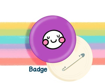 Purple Mood Face 58mm Badge Original Illustration by The Happy Chappo - Positivity Gift