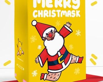 Merry Christmask Sassy Topical Christmas Greetings Card Festive Father Christmas Rudolph Reindeer