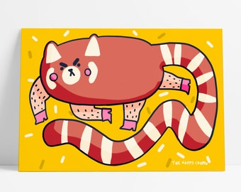 Red Panda Colour Cute Thicc Animal Postcard