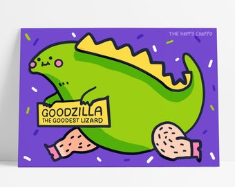 Goodzilla The Goodest Lizard Motivational Postcard Dinosaur Godzilla