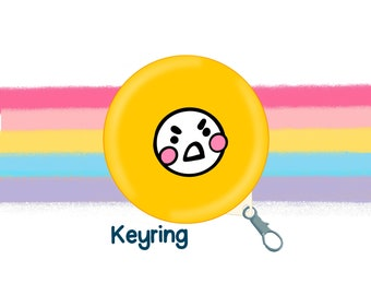 Yellow Mood Face 58mm Clip Keyring Original Illustration by The Happy Chappo - Positivity Gift