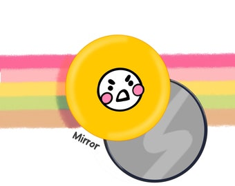 Yellow Mood Face Pocket Mirror 58mm  Original Illustration by The Happy Chappo - Positivity Gift