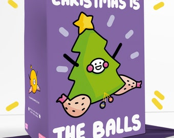 Christmas Is The Balls Sassy Cheeky Greetings Card Festive Father Christmas Christmas Tree