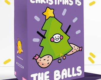 Christmas Is The Balls Sassy Cheeky Greetings Card Festive Father Christmas Christmas Tree