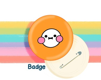 Orange Mood Face 58mm Badge Original Illustration by The Happy Chappo - Positivity Gift