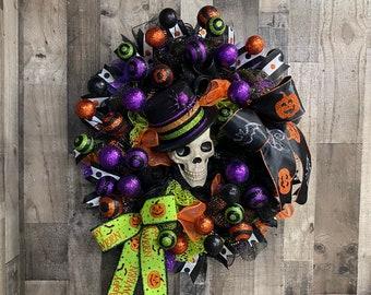 Skelton Wreath, Halloween Wreath, Halloween decor, Skeleton, Halloween, Large Wreath, Halloween Swag, Skull Wreath, Front Door Halloween